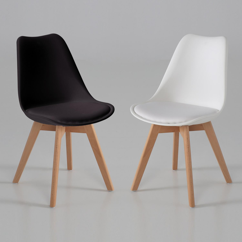 Silla elegant con coj n blanca o negra muebles baratos for Sillas blancas y negras