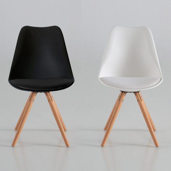 Silla arco con coj n blanca o negra muebles baratos online for Sillas blancas y negras