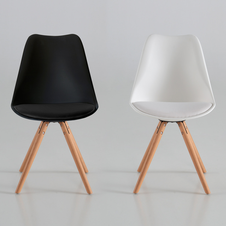 Silla arco con coj n blanca o negra muebles baratos online for Sillas cocina negras