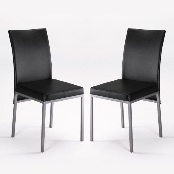 Conjunto mesa 4 sillas lux negro muebles baratos online for Sillas cocina negras