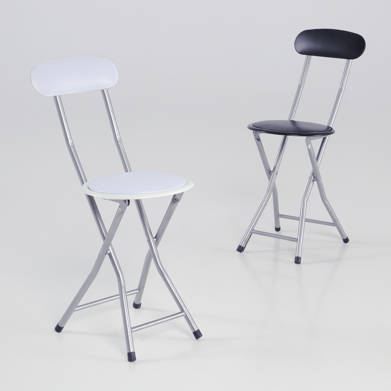 Taburete silla plegable blanca o negra muebles baratos for Sillas cocina negras