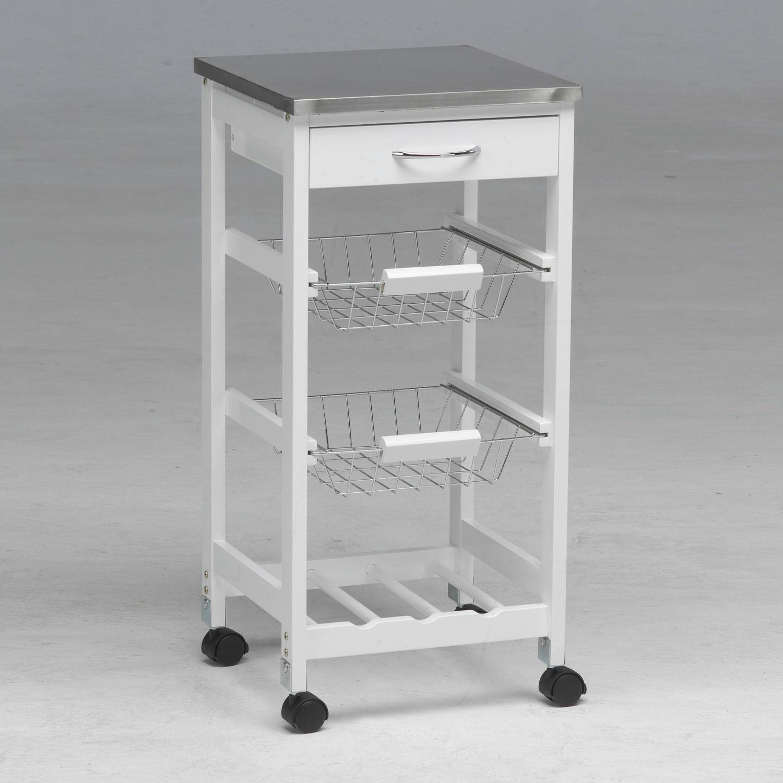 Carro de cocina con cestas botellero inox | Muebles baratos online