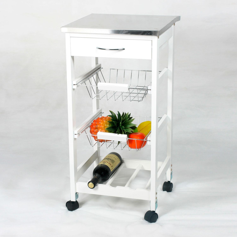 Carro de cocina con cestas botellero inox muebles for Carro auxiliar para cocina