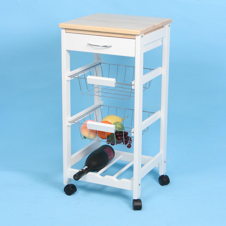 Carro de cocina con cestas botellero madera | Muebles baratos online
