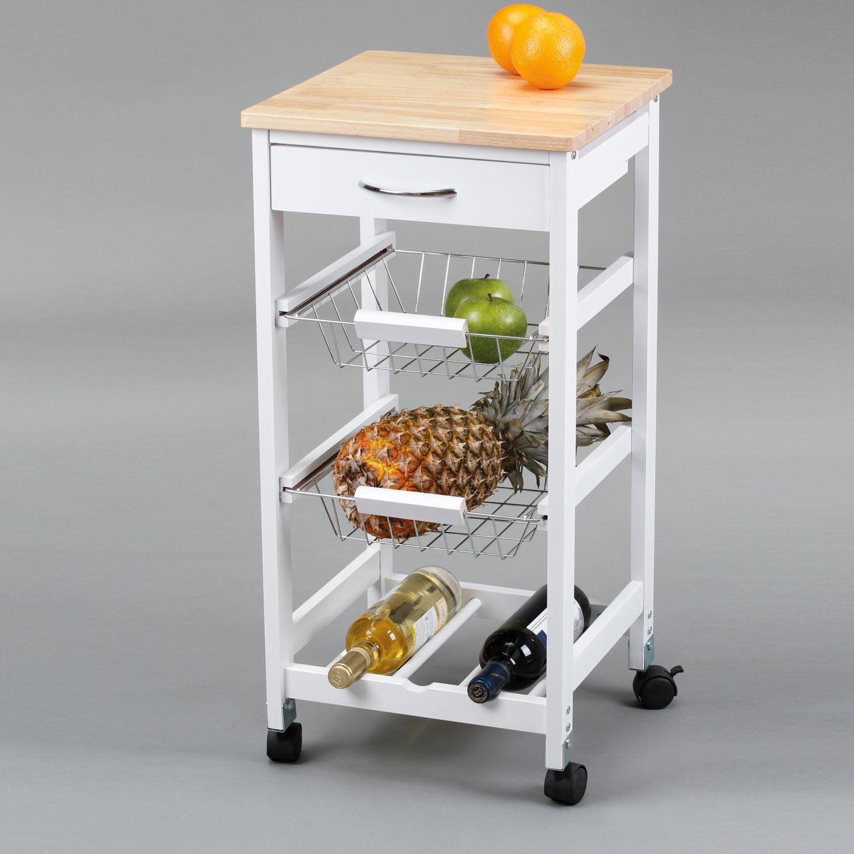 carro de cocina con cestas botellero madera muebles