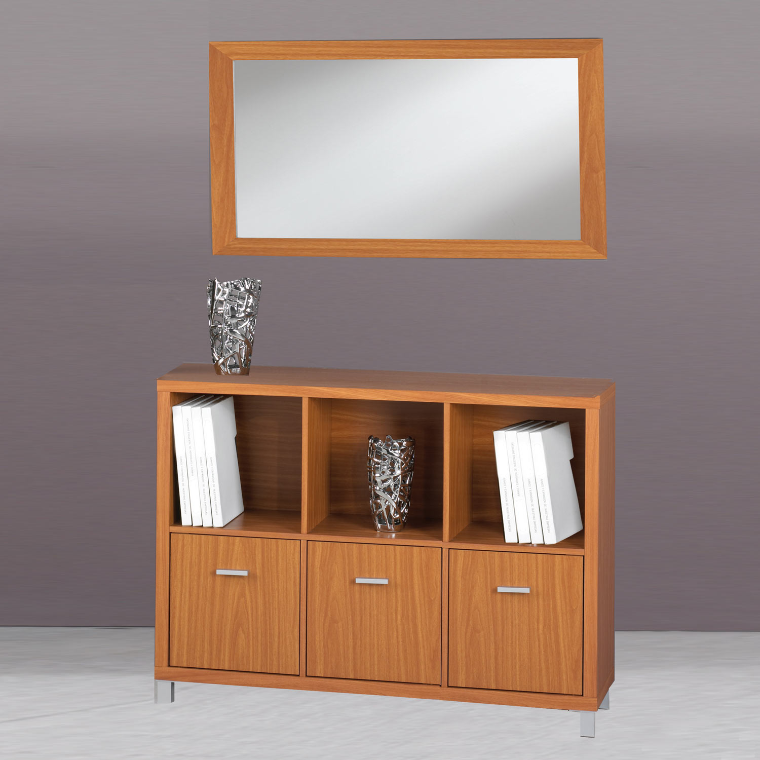 Estanter a verona 2 baldas 3 puertas cherry muebles for Muebles color cerezo baratos