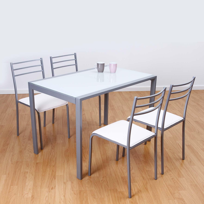 Conjunto de mesa y 4 sillas alfa en colores muebles for Mesa cocina blanca