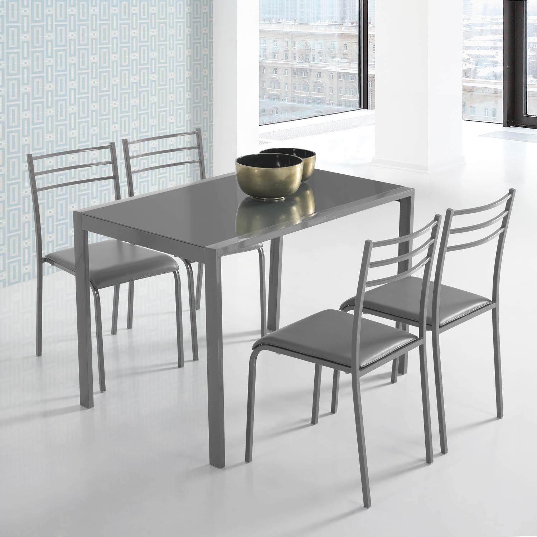 Conjunto de mesa y 4 sillas alfa en colores muebles for Sillas para cocina precios