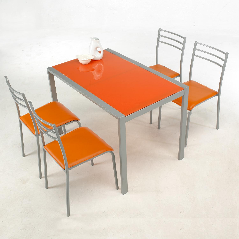 Conjunto de mesa y 4 sillas alfa en colores