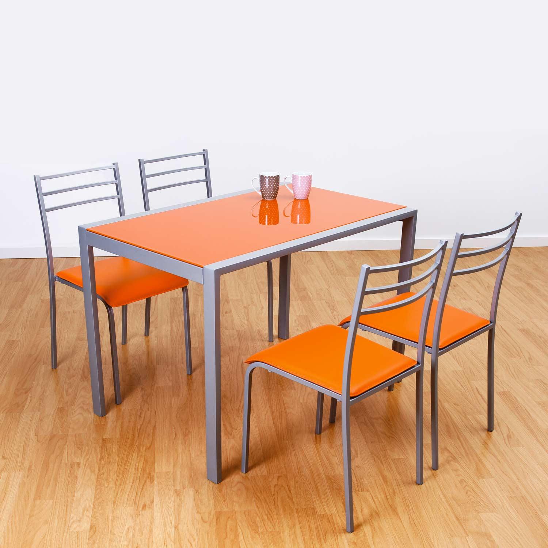 Conjunto de mesa y 4 sillas alfa en colores muebles baratos online - Conforama mesas y sillas ...
