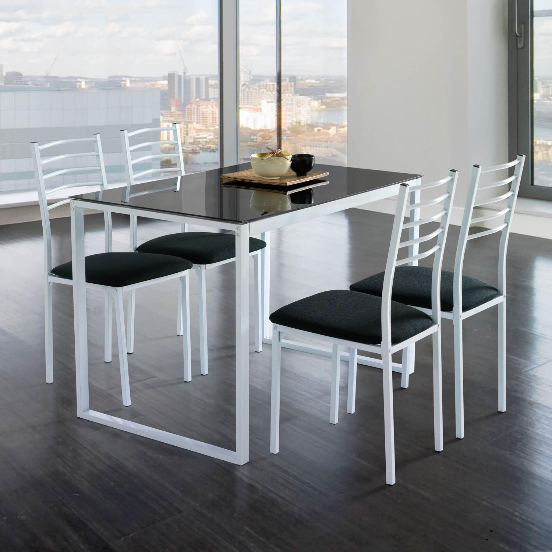 Conjunto noa mesa de cocina 4 sillas cristal muebles for Sillas cocina negras