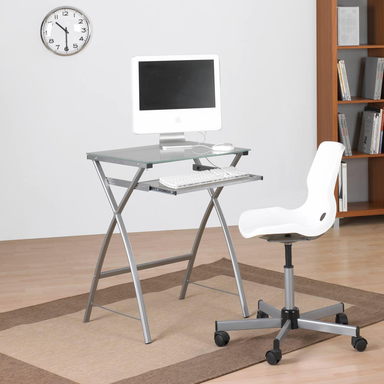 Mesa ordenador cristal portateclado muebles baratos online - Mesa estudio cristal ...