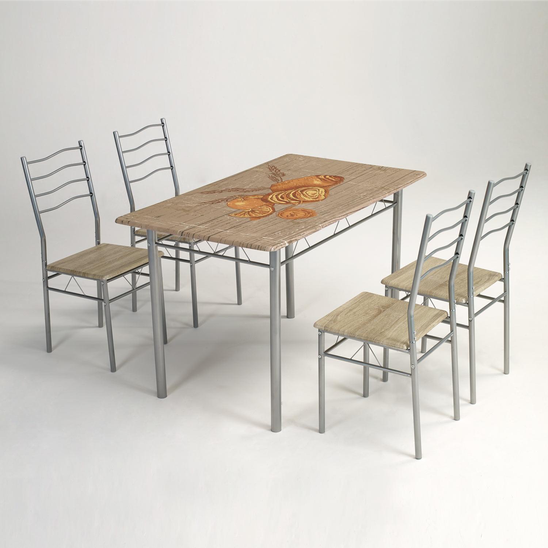 Conjunto rustico de mesa de cocina + 4 sillas