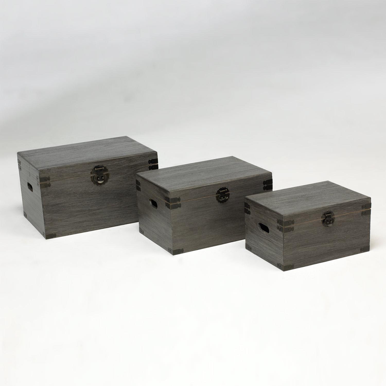 Set de baules decorativos negros muebles baratos online - Baules baratos madera ...