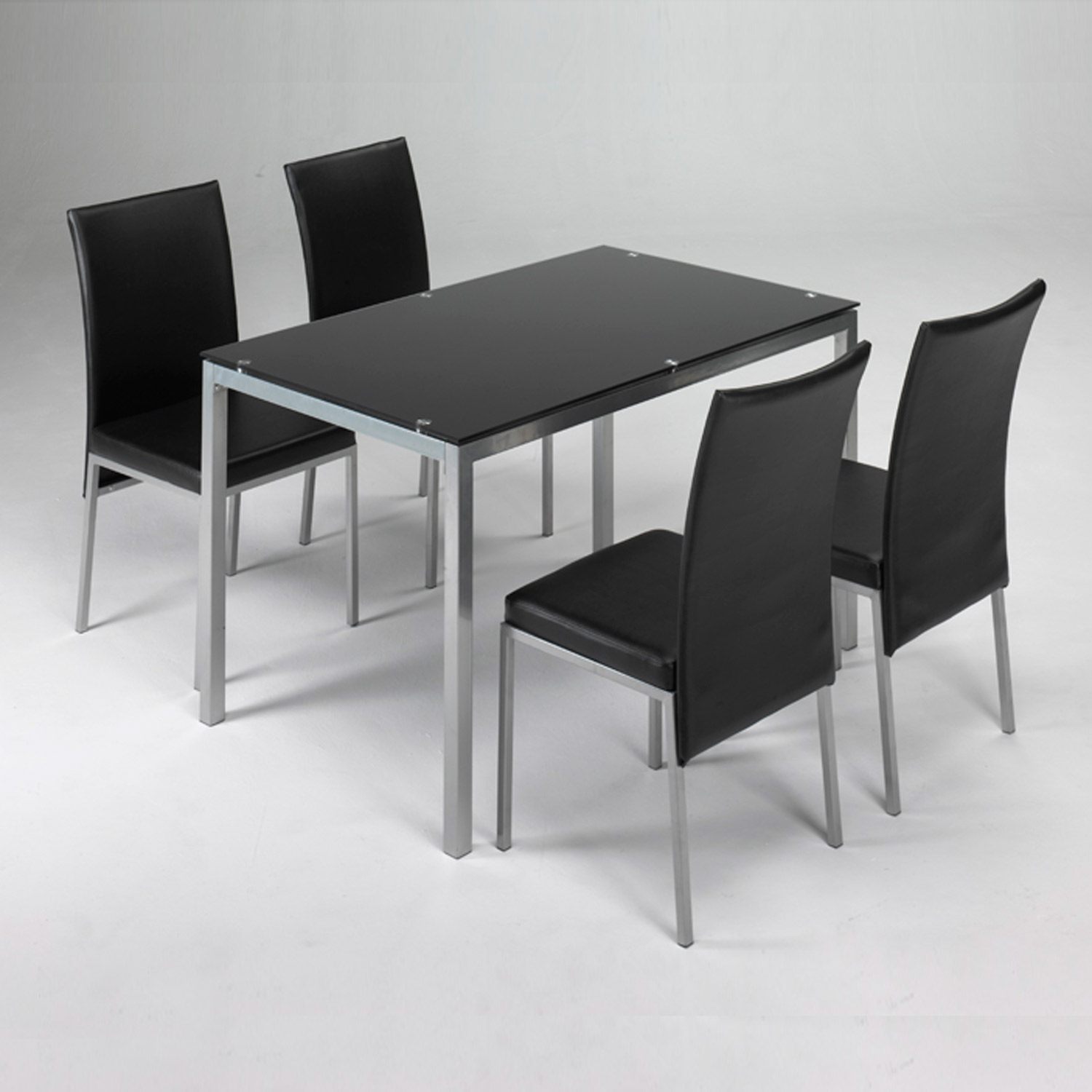 Conjunto mesa 4 sillas lux negro muebles baratos online for Mesa plegable 4 sillas